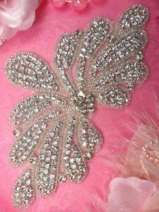 JB89-Rhinestone-Applique-Crystal-Silver-Beaded-Sewing-Crafts-Motif-6-5-Bridal