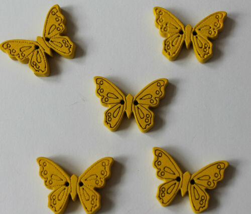 Two hole 22 mm lots of colours available. Pack of five wooden butterfly buttons