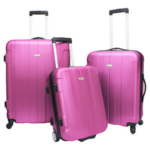 Traveler's Choice Pink Rome 3-Piece Hardside Lightweight Luggage ...