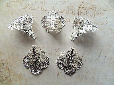 5 pcs Silver Colour Bead Caps Cones Flower Filigree 24mm x 29mm (TSC99C)