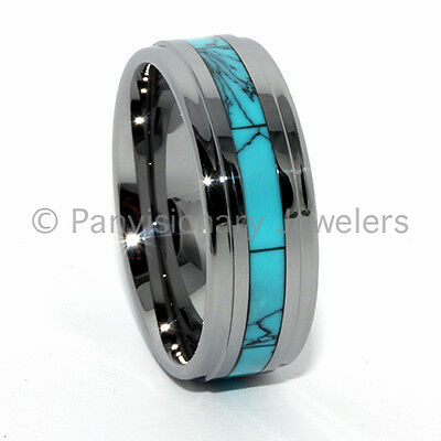 Tungsten Carbide Ring Turquoise Dyed Inlay 9MM Step Bevel Edge Comfort Fit
