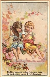 Victorian-Trade-Card-James-Pyle-039-s-Pearline-Soap-Two-Young-Girls-with-Mirror