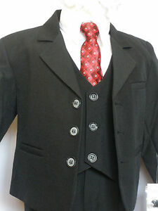 Baby Boy Easter Wedding Formal Party 5 PC Tuxedo Suit Black Size: 0,1,2 (0-24M)