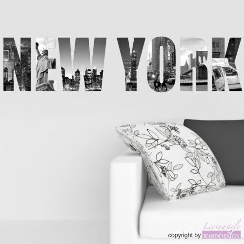 Sticker Mural New York Autocollants de Villes Amérique Couleur au Choix Muraux