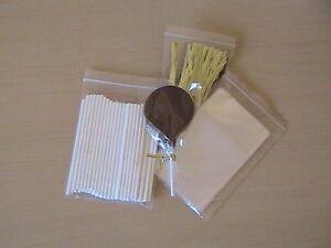 50-x-4-5-034-PLASTIC-LOLLIPOP-STICK-KIT-CAKE-POP-3-034-X-5-034-CELLO-BAGS-METALLIC-TIES