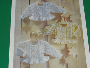 Babys-3-flair-tail-cardigans-size-16-to-size-28-knitting-pattern