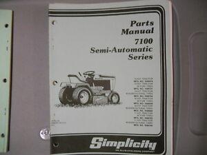 simplicity parts manual 7100 semi automatic series lawn tractor ebay
