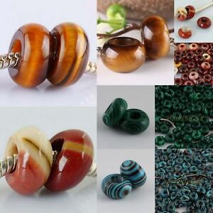 Tiger-Eye-Mookaite-Gemstone-Man-made-Malachite-Banded-Charm-Big-Hole-Beads