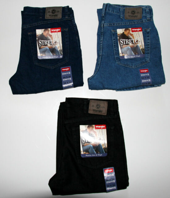 New Wrangler Men`s Stretch Jeans Regular Fit All Sizes Three Colors