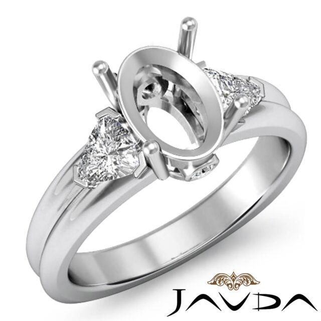 3 Stone Fine Diamond Trillion Oval Mount Engagement Ring 14k White Gold 0.6Ct