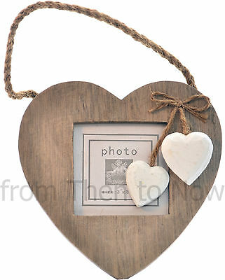 Rustic Chic Shabby Natural Wooden Heart Photo Picture Frame Hanging White Hearts