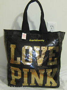 SEQUIN Bling LARGE NEW VICTORIA SECRET PINK GYM BEACH CARRYON WEEKENDER TOTE BAG