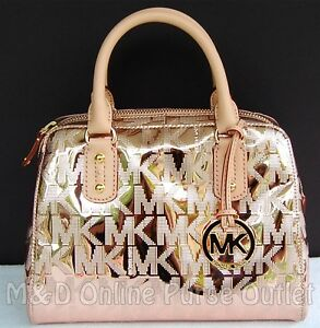 5f8db00b5cd7 Michael Kors Monogram Logo Mirror Metallic Small Satchel Purse Bag ...