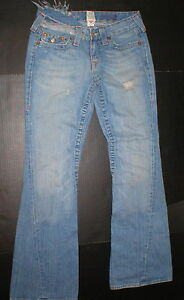 New-Womens-True-Religion-Joey-Jeans-29-Distressed-Ripped-30-X-33-100-Cotton