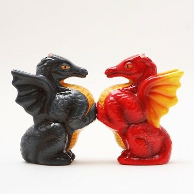 Black Red Dragons Ceramic Magnetic Salt and Pepper Shaker Set Decor Gift