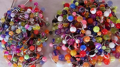 40 Lot: 20 Tongue Rings & 20 Belly Button Naval Rings