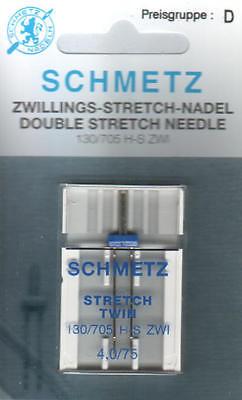 Schmetz Zwillingsnadel Stretch 130/705 H-S ZWI  4,0/75  4 mm breit, Stärke 75