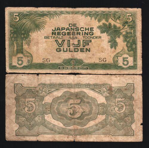 NETHERLANDS INDIES 5 GULDEN P124 1942 USED JIM WAR JAPAN OCCUPATION INDONESIA BN