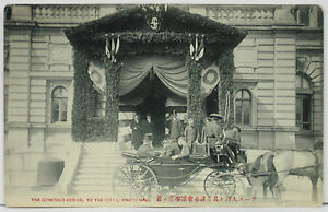 1900's 1910's Postcard ~ GENERALS arrive at CITY COUNCIL HALL in CARRIAGE, Japan