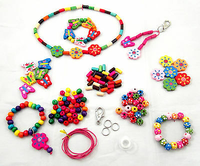 Children's Jewellery Making Kit - Wooden Beads and Findings - 110 Pieces