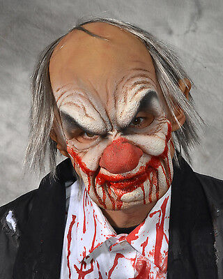 Old Bald Clown Bloody Evil Smiley Man Halloween Mask Supersoft Moves with Face