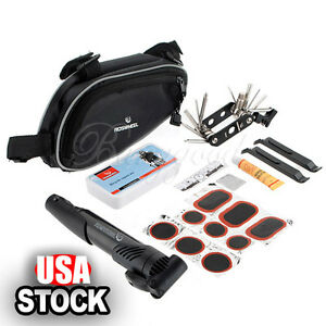 Bike-Bicycle-Cycling-Tire-Tyre-Multi-use-Repair-Tools-Pump-Kits-Bag-Glue-Patch