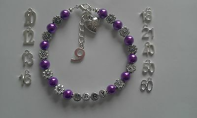 Girls Ladies Personalised Birthday Bracelet Gift 9th 10th 12th 13th 16th More