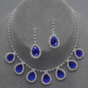 Silver-Seven-Oval-Sapphire-Blue-Charm-Clear-Rhinestone-Earrings-Necklace-Set-New