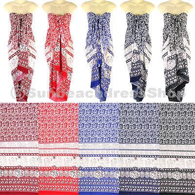 Elephant Pattern Sarong Pareo Skirt Dress Wrap Cover-up Beach Hawaii Luau