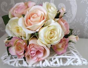 NEW-ARTIFICIAL-SILK-FLOWER-PINK-CREAM-ROSE-BUNCH-BOUQUET-WEDDDING-VINTAGE