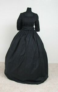 Civil-War-Reenactment-Victorian-Mourning-Gown-2-Pieces-Skirt-and-Sash