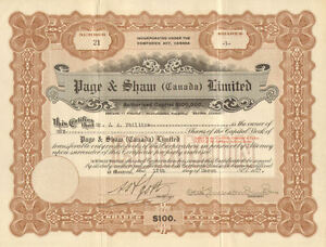 Page-Shaw-Limited-Canada-Candy-stock-certificate-signed-Otis-Emerson-Dunham