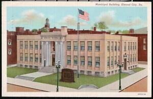 ELWOOD-CITY-PA-Municipal-Building-Vintage-Linen-1941-Postcard-Early-Old-PC
