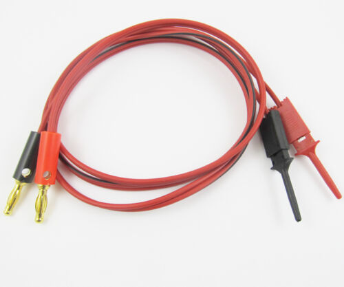 1set Gold banana plug male to Small Test Hook Clip Cable Test Probes IC PCB 1M