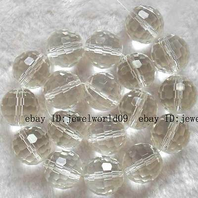 10mm 12mm 14mm 16mm 18mm 20mm White Quartz Round Faceted Beads 13""