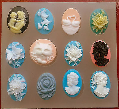 Cameo set of 12 SILICONE MOULD resin, fimo chocolate polymer clay mold cupcake