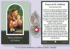 Verse-Prayer-Card-with-Silver-Relic-Metal-Oxidised-Medal-VARIOUS-SAINTS