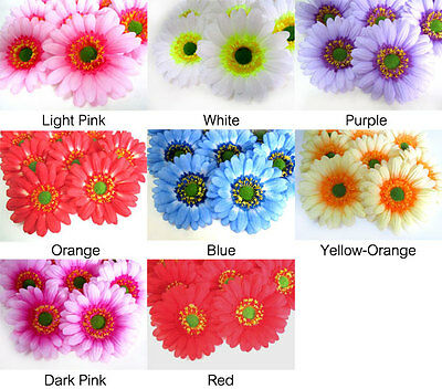 "(10pcs) 3.5"" Large Silk Gerbera Daisy Heads - Artificial Flower Wedding - Fabric"
