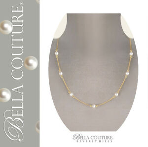 $595 NEW VICTORIAN WHITE AAA+ AKOYA PEARL 18K GOLD NECKLACE CHAIN 7.5MM 24 18