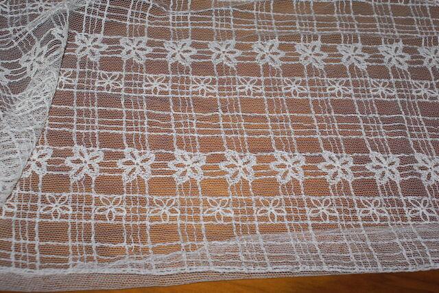 CREAM Lace Fabric w Floral Crochet Detail - 2.5m x 1.5m