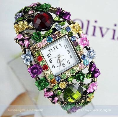 100% NEW Protective color Swarovski Crystal Ladies Women bracelets watch Gift