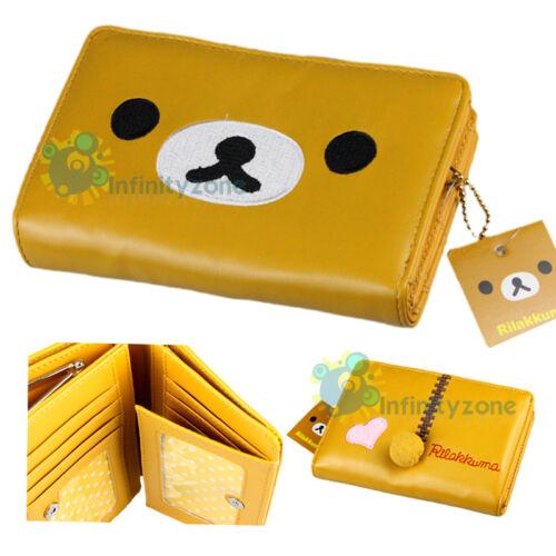 "SAN-X Rilakkuma Bear Brown Leatherette 6"" Card Holder Money Purse Case Wallet"