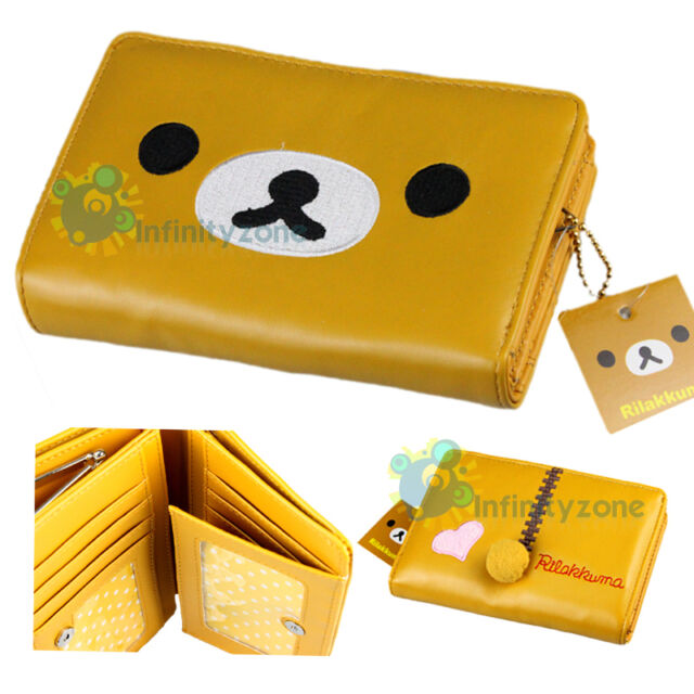 "SAN-X Rilakkuma Bear Brown Leatherette 6"" Card Holder Money Purse Case Wallet"