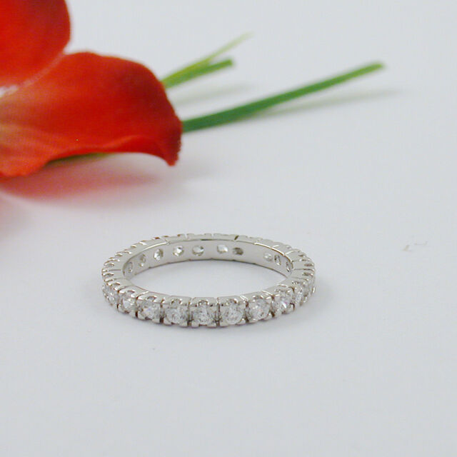 MUST SEE WHITE GOLD EP ROUND ETERNITY ANNIVERSARY RING BAND SIZE 5 6 7 8 9 10