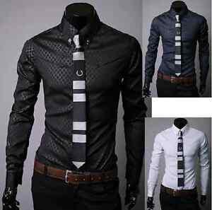 New-Mens-luxury-leisure-Slim-shirt-formal-shirt
