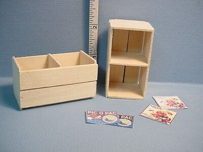 Miniature Fruit Crates (2) Handcrafted 1/12th Scale M & M Specialty