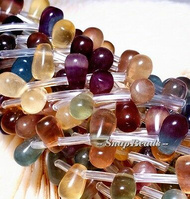 MIXBERRIES RAINBOW FLUORITE GEMSTONE TEARDROP 8X5MM LOOSE BEADS 7.5""