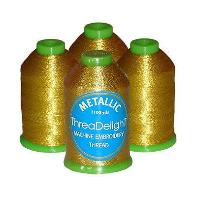 ThreaDelight 4 Antique Gold Metallic Machine Embroidery Thread Kit 1100 yds 40wt
