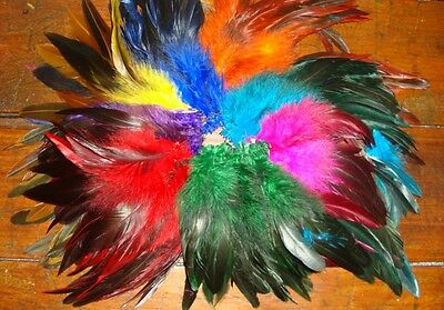 """8 COLOR MIX HALF BRONZE SCHLAPPEN ROOSTER FEATHERS 5-7"""""""