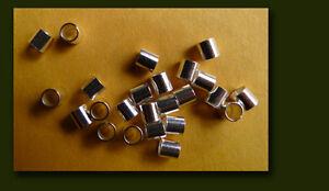 925 silver crimp beads, 3 x 3 mm, 24 units